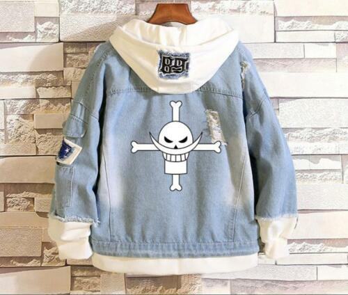 One Piece D.Ace Cosplay Anime Kapuzen Jeans Jacke Coat Hoodie Hooded Jacket