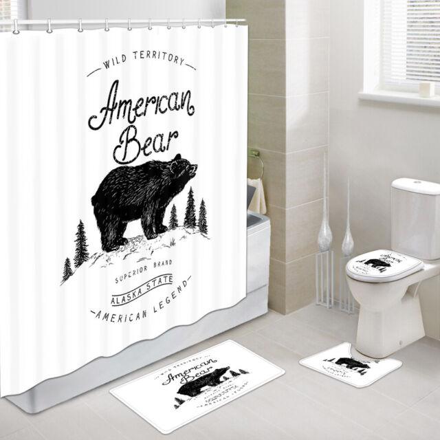Bear and nest Shower Shower Curtain Toilet Cover Rug Bath Mat Contour Rug Set