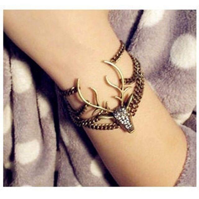 Full Rhinestone Mysterious Deer Head Vintage Bracelet bangles Good