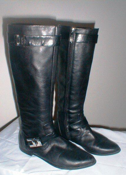 CALVIN KLEIN Damenschuhe'S BLACK LEATHER TRACIE CALF BOOTS SIZE 6 1/2 M