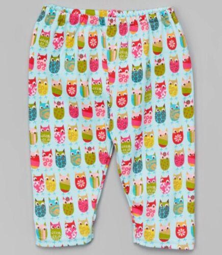 Girls ZUTANO pima cotton knit owl pants 0 3 months NWT aqua boho pink green baby