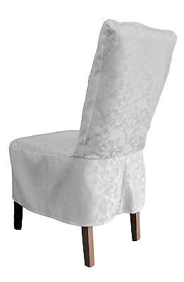 White Short Damask Dining Chair Cover Rj13 Dining Chairs Living Room