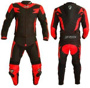 Tuta-Moto-Pelle-e-Tessuto-Racing-Sport-2Pezzi-Divisibile-Giacca-Pantalone-BIESSE