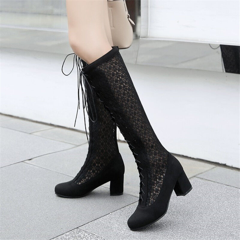 Fashion Women's Lace Up Knee High Boots Round Toe Hollow Out Chunky Heel shoes