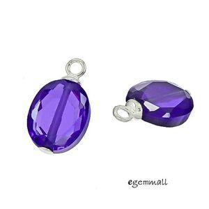 2-Purple-CZ-In-Sterling-Silver-Oval-Dangle-Earring-Charm-Beads-98161