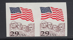 US-Sc-2523b-MNH-1991-29c-Flag-over-Mt-Rushmore-Imperf-Coil-Pair