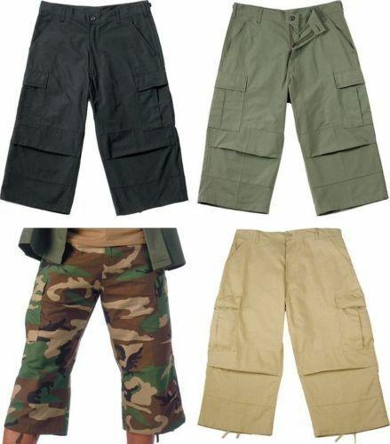 Camo Capris Long Cargo Shorts Military Army Fatigues Tactical 3 4 BDU Pants