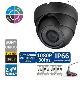 Grey HD-TVI 1080p 2.4MP Motorized Zoom Auto Focus 2.8-12 Dome Camera Sony CMOS