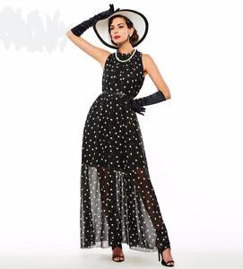 kleid polka mit punkte sommerkleid chiffon partykleidcocktailkleid abendkleid  ebay