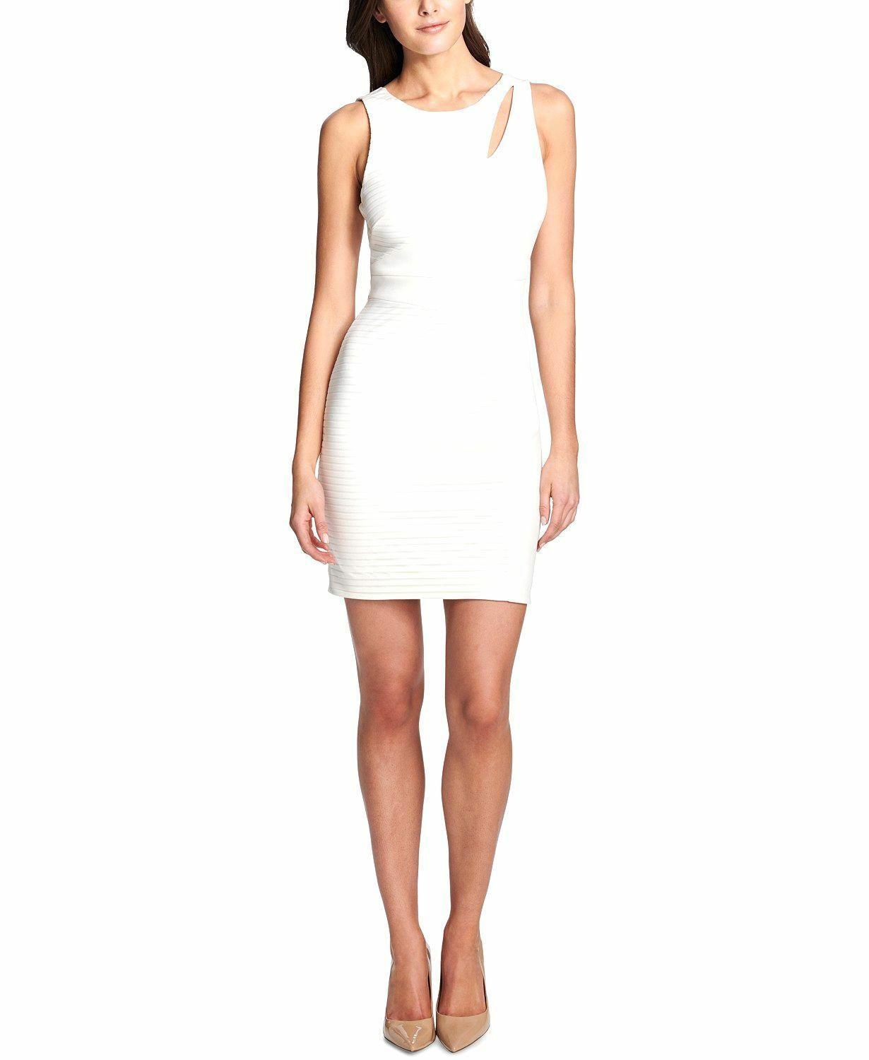 NWT  GUESS WOMEN'S SOLID WHITE CUTOUT SLEEVELESS BODY-CON SHORT DRESS SIZE 8