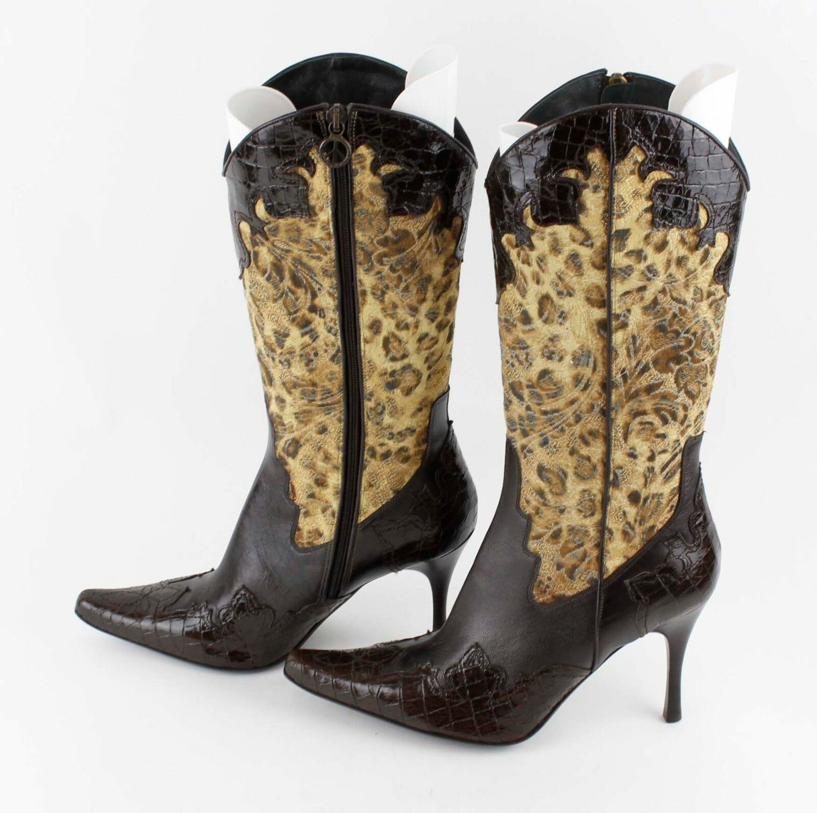 Donald J. Pliner Sz 9.5 VANE Chocolate Braun Gold Paisley Leopard Croc Stiefel LB