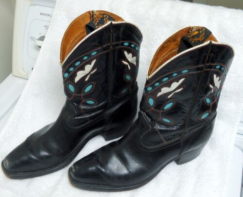 Vintage Gooding shorty western cowgirl boots inlai