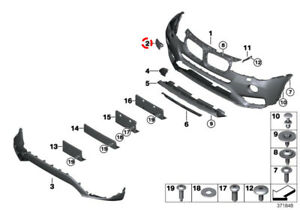 For BMW F25 X3 Set of 2 Front Bumper Cover Cap SRA w// Washer w//o M Package OES