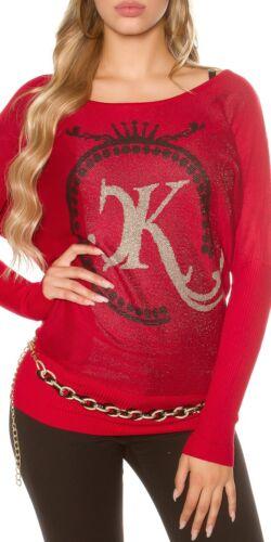 Koucla Longpullover Fledermauspullover Pullover Sweater mit Glitzer-Print