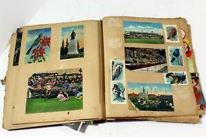 Vintage-1930s-40s-Scrap-Book-w-Valentines-Birthday-Postcards-etc-189-total