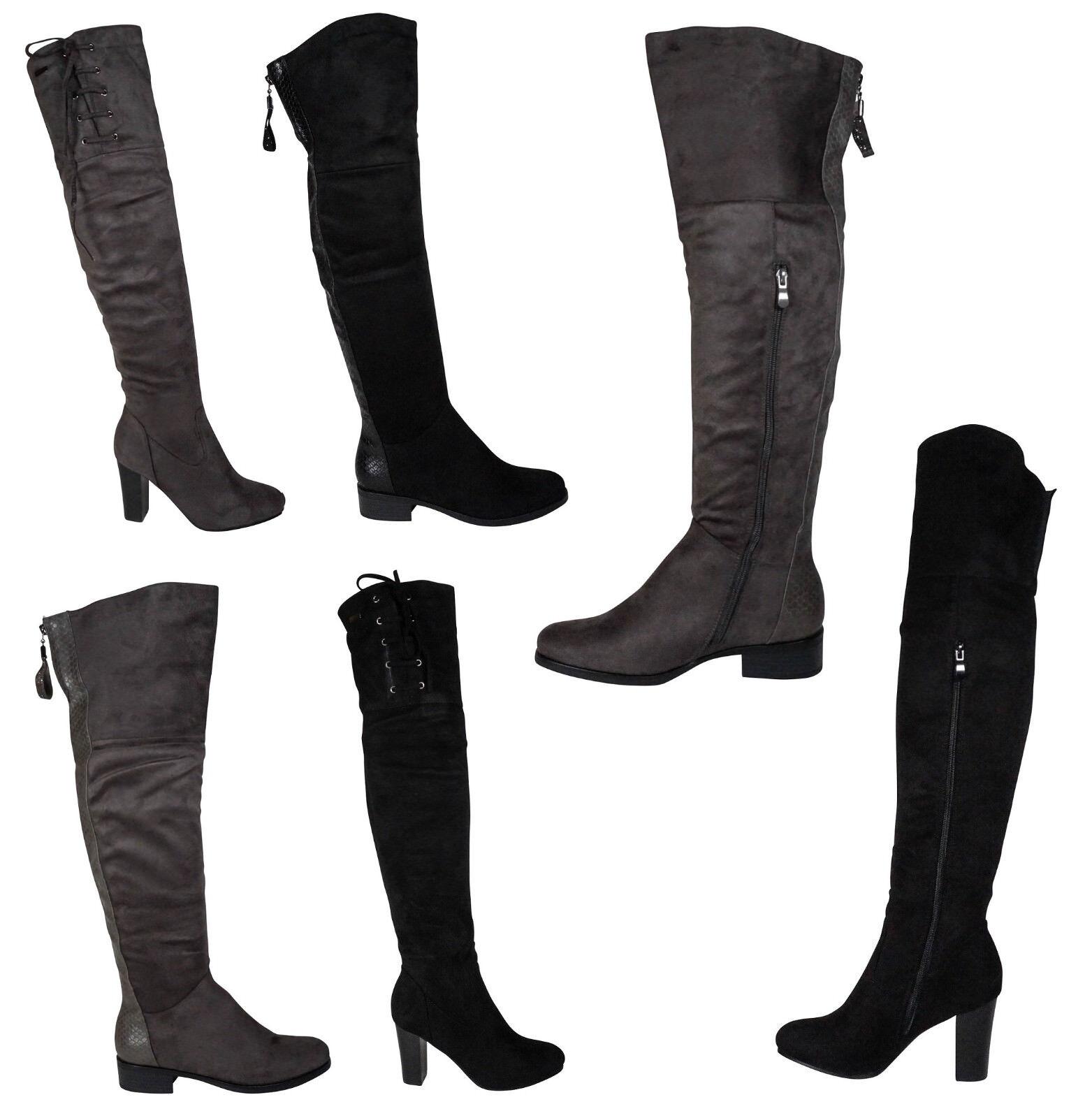Damen Overknee Stiefel High Heels Stiefeletten Boots Gogo Overkneestiefe<wbr/>l neu