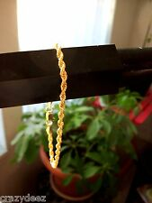 """8"""" GOLD PLATED ROPE CHAIN BRACELET W/ LOBSTER CLAW"""