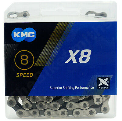 """Silver KMC X8 Chain — AUS Stock — Bicycle Bike MTB Road 3//32/"""" — 6//7//8 Speed"""