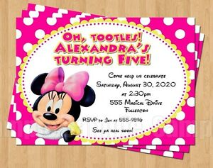10 Minnie Mouse 1st 2nd 3rd 4th 5th Birthday Party Invitations Polka