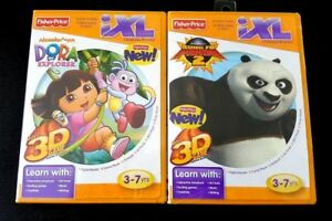 Lot-Of-2-Fisher-Price-iXL-Learning-System-Dora-The-Explorer-Kung-Fu-Panda