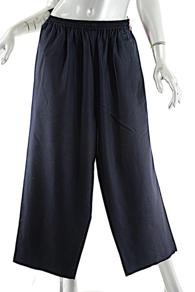 Eskandar Negro 100% Lana de Nueva Zelanda franela  relajado Pantalón de cultivos-Talla 0 0 - como Nuevo  marca famosa