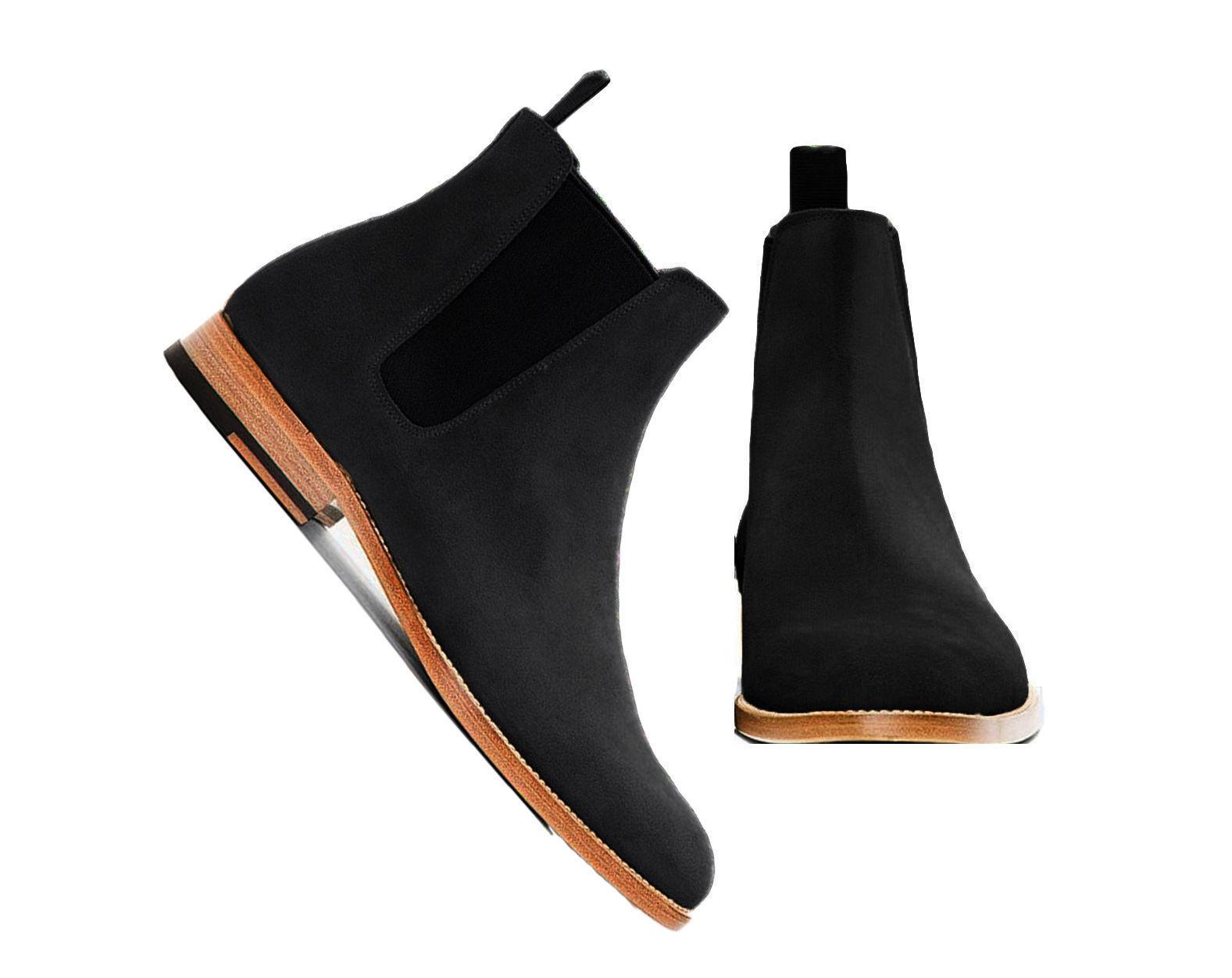 61e1c863 botas para hombre hecho a mano Negro Tobillo Alto Bota De Cuero Gamuza  medida Todas las Tallas De nrekrb2109-Botas