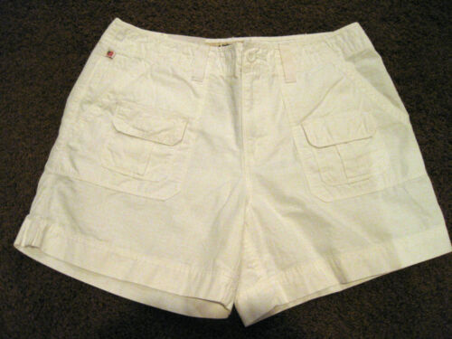 NEW WOMENS RALPH LAUREN  POLO JEANS COMPANY RIPTIDE CARGO WHITE SHORTS SIZE 8