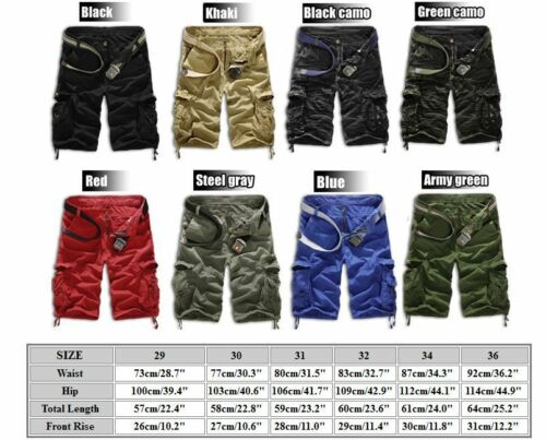 Mens Cargo Shorts Combat Work Summer Army Casual Beach Pants Trousers 29 30 36