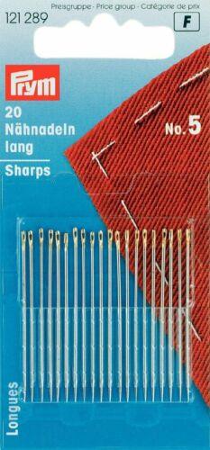 5 Paquete de 20 121289 Prym agujas de coser a mano caja tamaño no