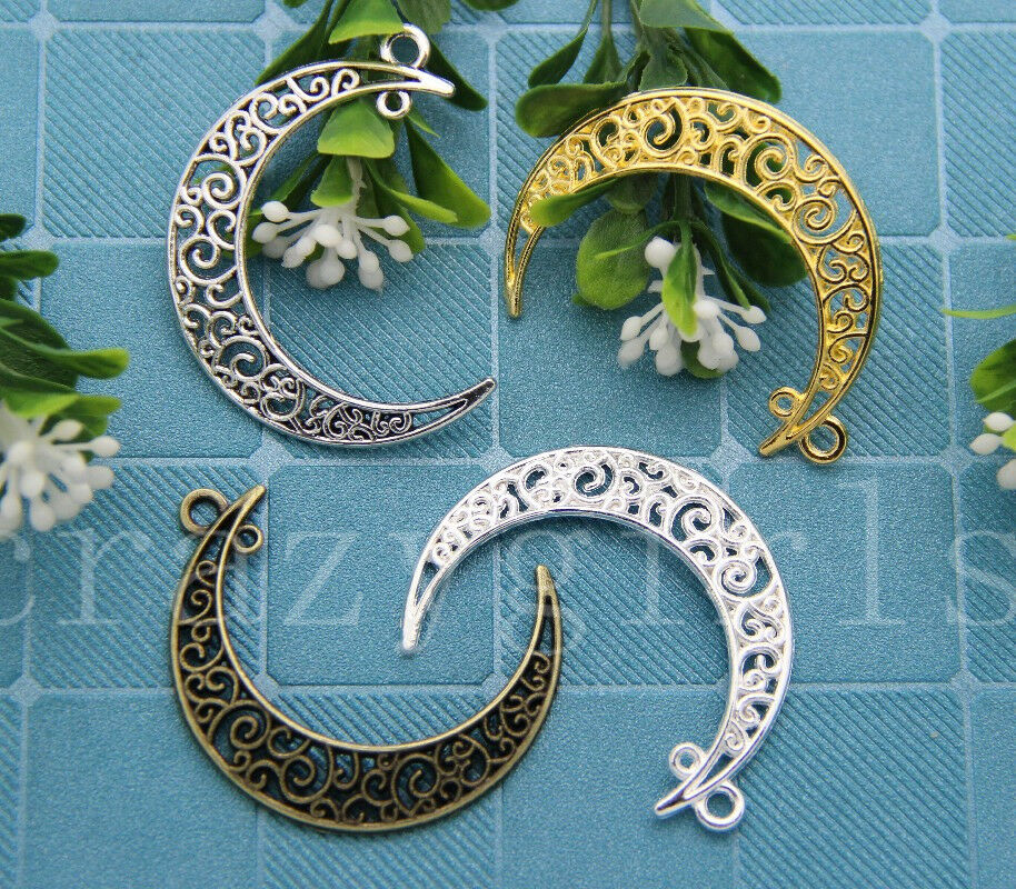 New 5//20//100pcs Antique Silver Beautiful Moon Jewelry Charm pendant DIY 41x30mm