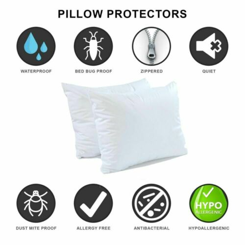 Waterproof Pillow Protector Hypoallergenic Dust Mite Bed Bug Resistant Zippered
