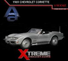 AUTOART 71162 1:18 1969 CHEVROLET CORVETTE CORTEZ SILVER DIECAST MODEL CAR