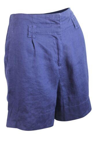 Da Donna Misto Lino Smart Blu Navy O Bianco Aderente Pantaloncini Tasche Mezza Lunghezza