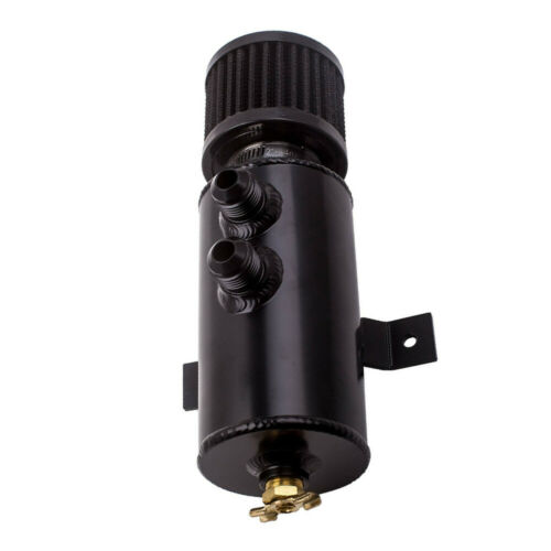 Aluminum Alloy Oil Catch Tank Can 0.75L Baffled w// Breather Filter AN10 Black