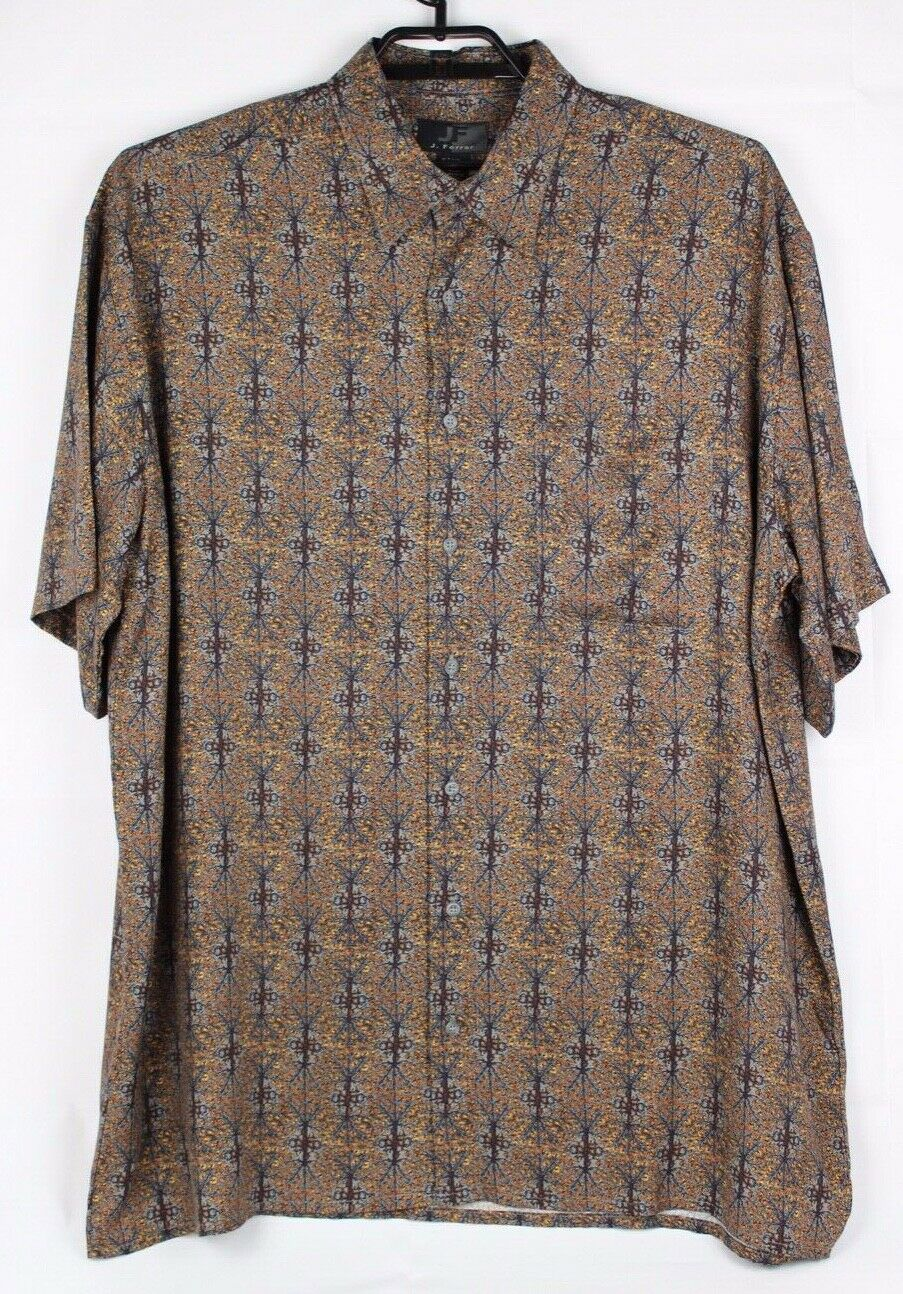 41947343 JF J Ferrar men's shirt short sleeve brown multicolor viscose size XLT XGL