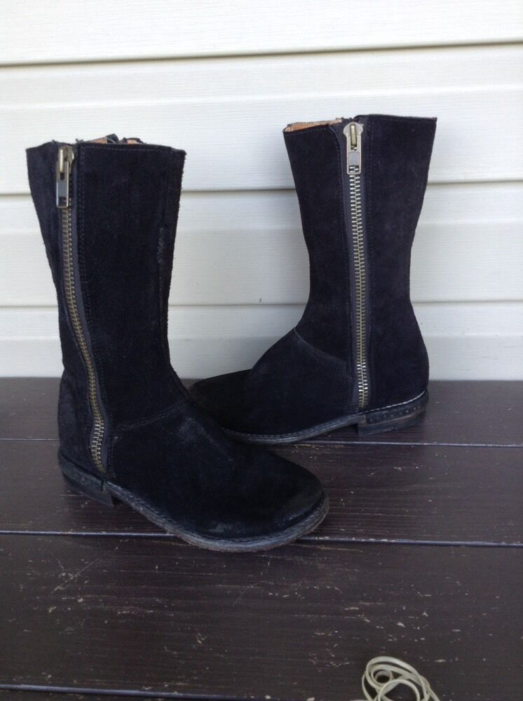 BED STU WOMENS EAGLE SUEDE DOUBLE ZIP MID CALF DRESS BOOTS BLACK SZ 6.5 EUC  220
