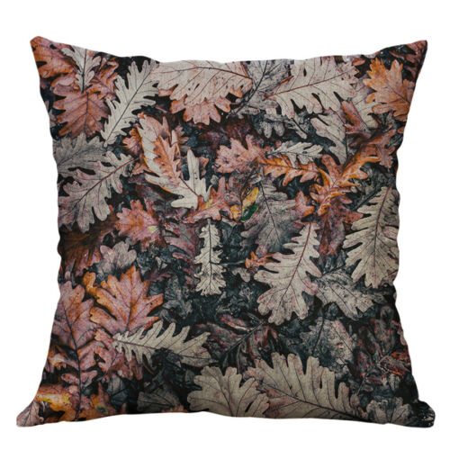 "18/"" Leaf Print Picture Linen Cotton Square Decorate Pillow Cover Home Décor"