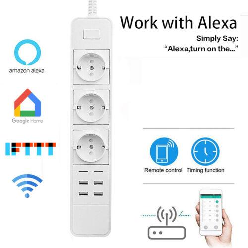 3 Fach Smart Steckdosenleiste 4 USB Fernsteuerung WLAN Steckdosen Alexa Google