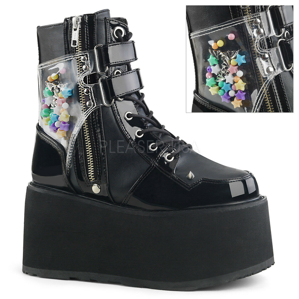 online economico Demonia Damned-115 Punk Rock Gothic Platform nero PA Ankle stivali stivali stivali Spike Details  confortevole