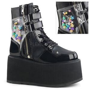 Demonia Damned-115 Punk Rock Gothic Platform Black PA Ankle Boots Spike Details