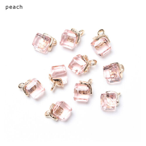 10pcs Cube Glass Loose Beads 14 Colors Crystal Beads for Bracelet Making DIY