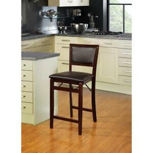 Espresso Wood Cushioned Counter Bar Stool Chair Kitchen