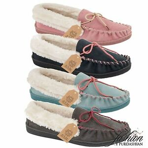 New-Ladies-Real-Leather-Suede-Fur-Slip-On-Moccasin-Slippers-Loafer-House-Shoe