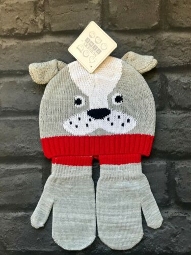 Baby Knitted Hat /& Gloves//Mittens Set 6-12 months in Grey Colour BN