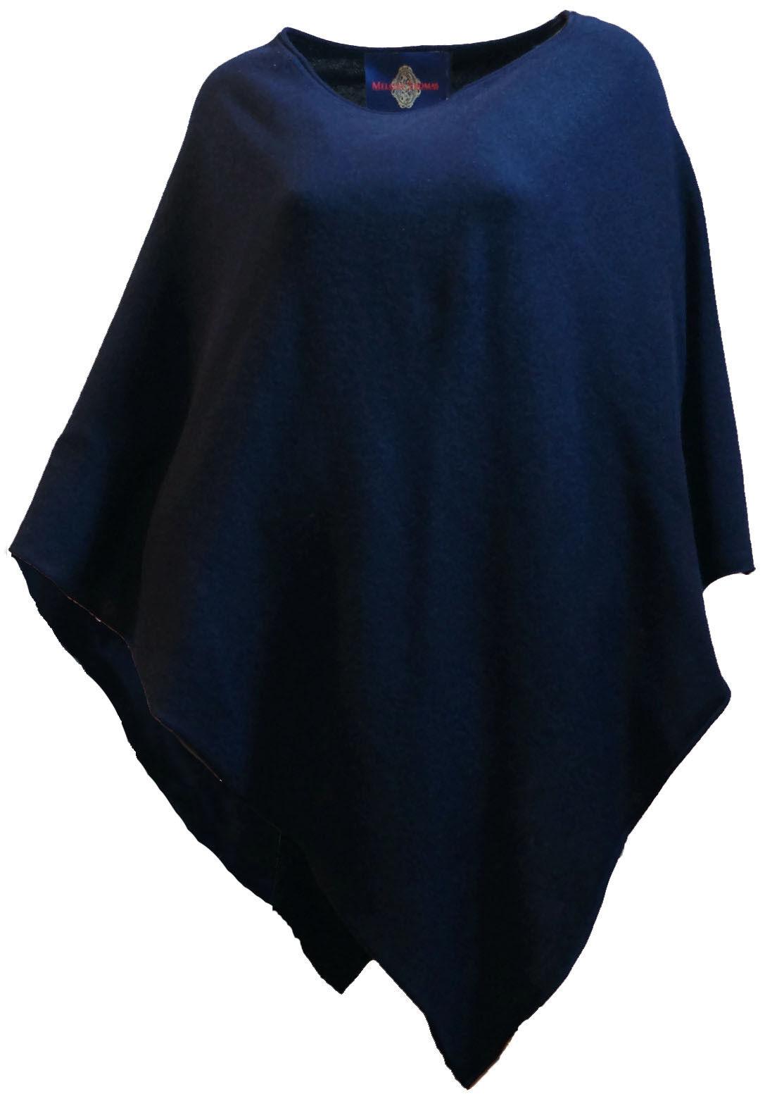 Melody Thomas Studio Designer 100% Pure Cashmere Navy bluee Ponchos Sweater Knit