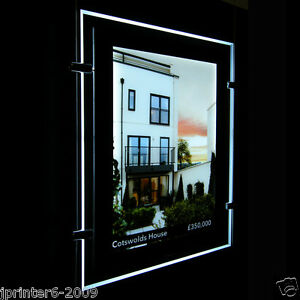 A4 3 Pieces Single Side LED Window Light Pocket Light Panel Estate Agent Display