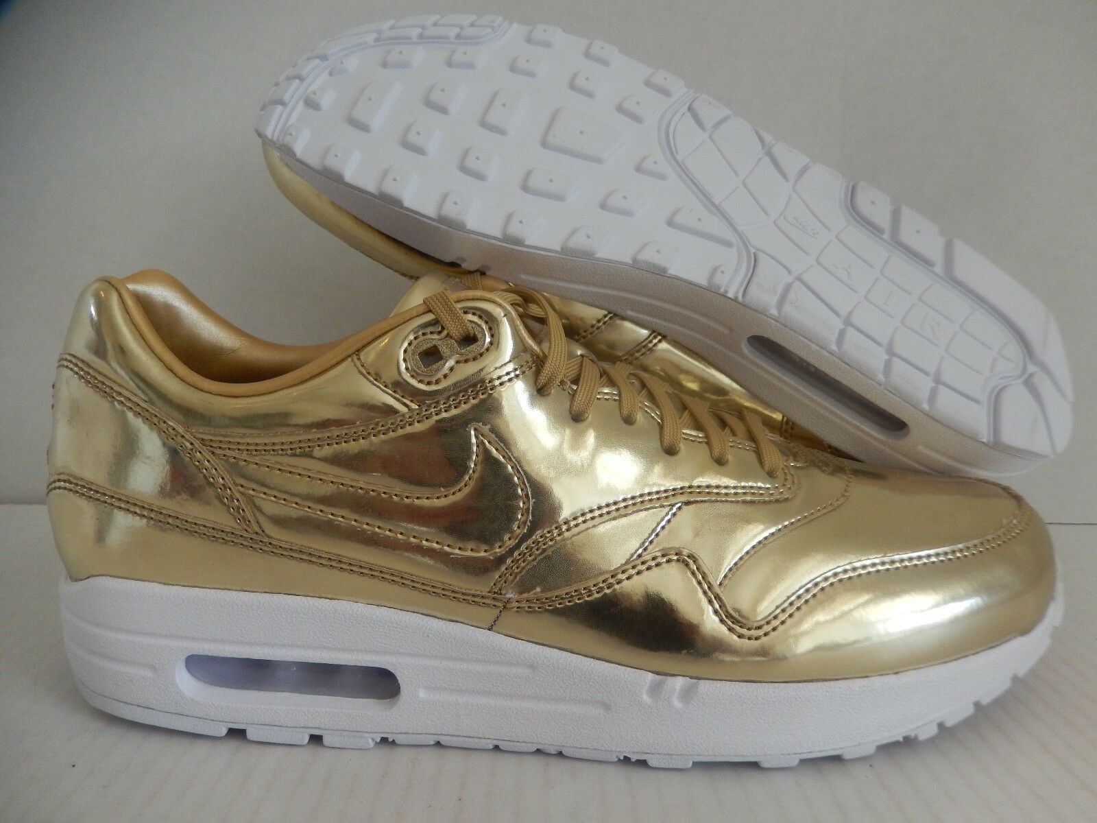 NIKE AIR MAX 1 PREMIUM ID LIQUID GOLD-WHITE SZ 10.5 [829357-991]