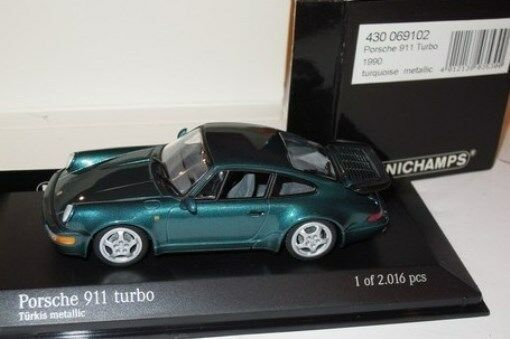 RARE MINICHAMPS PORSCHE 911 (964) Turbo TURKIS METALLIZZATO 1 43 OBSOLETO Nuovo di zecca BOXED