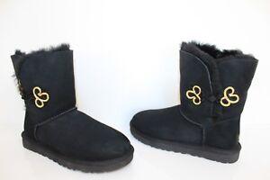 90aae0c56ea Details about UGG Australia 1009264 BK 7 Bailey Gold Mariko Suede Short  Sheepskin Boot Black 7