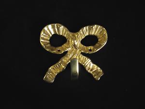 screws 3 Large Solid Brass Bow Hook 9.5cm x 8cm Door Coat Wall Decorative Hook